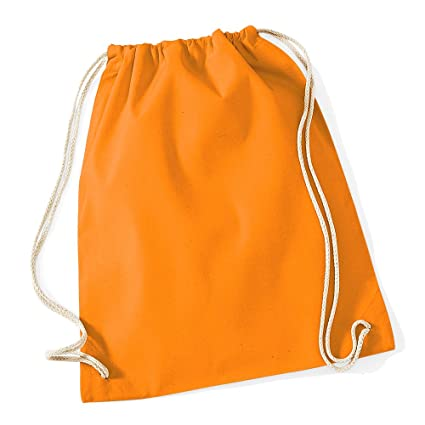 bc5525ad317d Westford Mill Cotton Lightweight Draw String Gym Sac Bag - Orange