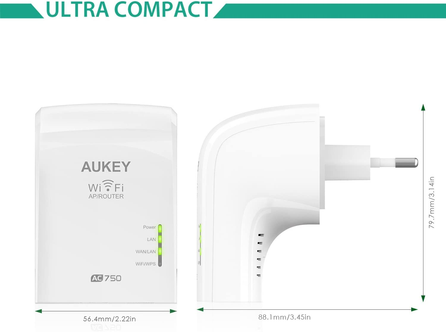 Aukey WF-R1 - Repetidor de red (5 GHz/ 2.4 GHz, 433Mbps/ 300Mbps, IEEE 802.11ac, 2 puertos W/LAN + LAN) color blanco
