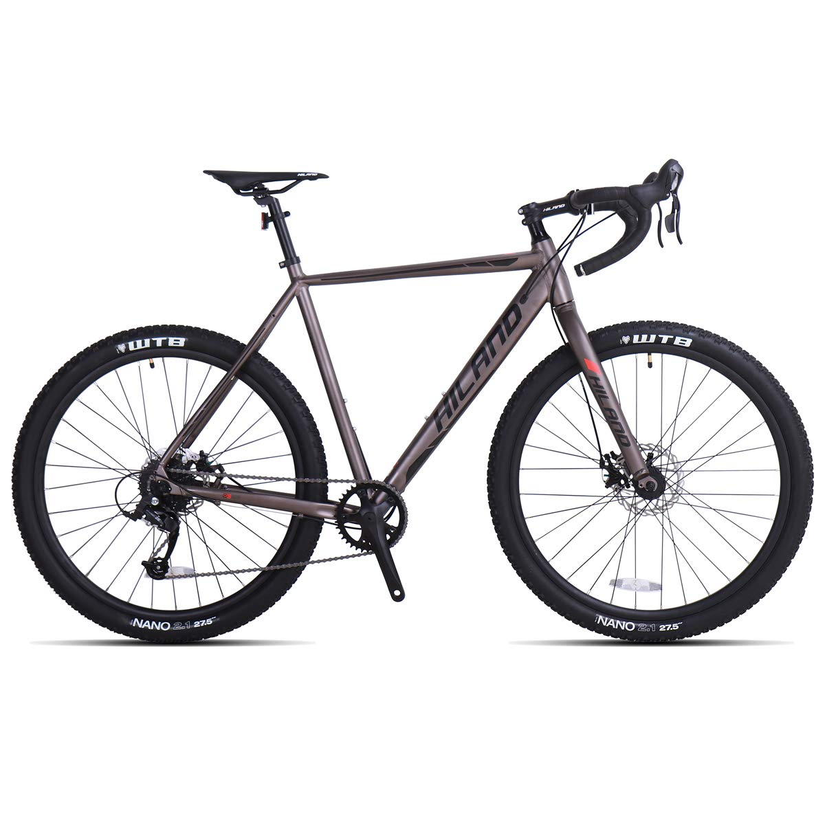 Hiland Gravel Bike for Men and Women Road Cyclocross Adult Teenager Youth Boys Girls Sport Bicycle, 650B Wheels 24 speeds Bikes Black Grey 58cm by HH HILAND