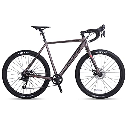 Hiland Gravel Bike for Men and Women Road Adventure Cyclocross Adult Teenager Youth Boys Girls Sport Bicycle, 650B Wheels 24 speeds Bikes Black Grey 54cm best gravel bikes