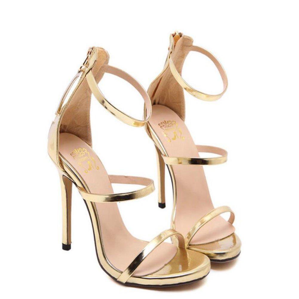 GAOLIXIA Frauen High Heels Sommer hochhackige durchbohrte Open-Toe Sandalen Mode Schuhe 4 Farben