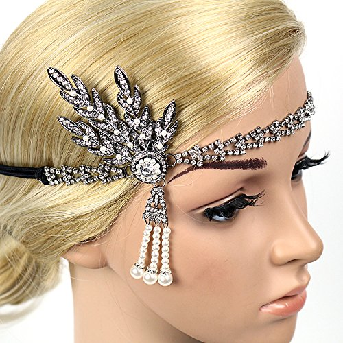 Zhisheng You Women's Art Deco 1920s Flapper Gatsby Leaf Wedding Bridal Tiara Pearl Headpiece Headband (Black-2) by Zhisheng You (Image #5)