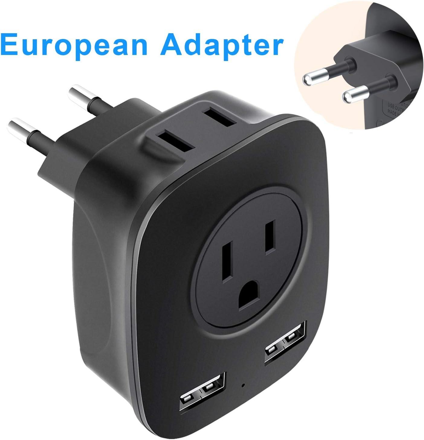 NEWVANGA Adaptador de enchufe europeo, adaptador de alimentación universal de viaje con 2 puertos de carga USB, 2 adaptadores de salida de 15 A para enchufes europeos de Estados Unidos a Europa,