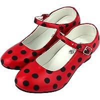 Flamenco / Sevillana, buty do tańca dla kobiet / dziewcząt, czerwone z czarnymi kropkami