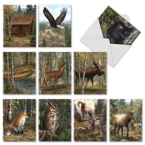 M10032BK Into The Woods: 10 Assorted Blank All-Occasion Note Cards Feature Woodland Scenary and Animals,w/White Envelopes.