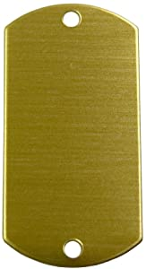RMP Stamping Blanks, 1 Inch x 2 Inch Dog Tag with Two Holes, Brass 0.032 Inch (20 Ga.) - 20 Pack