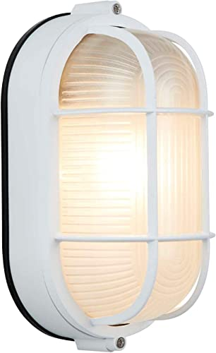 NOMA Outdoor Bulkhead Light Marine Style Light Waterproof Outdoor Wall Lantern for Front Door, Backyard, Garage, Patio, Basements or Cabins White Oval Shaped Light with Bevelled Glass Panels