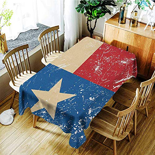 XXANS Elastic Tablecloth Rectangular,Texas Star,Grunge Flag Illustration with Lone Star Retro Independence Sign,Party Decorations Table Cover Cloth,W54x72L Vermilion Beige Navy Blue]()