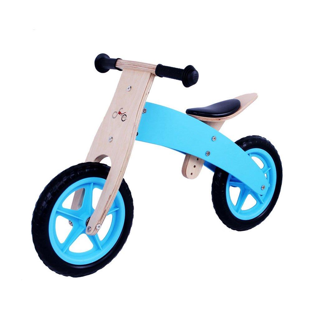 子供用ダブルホイール自転車なしペダル2輪スクーター子供用スクーターペダルなしバギーウッドベビースクーター2ラウンドバランスカー2-6歳 B07F57C1F8 Blue Blue