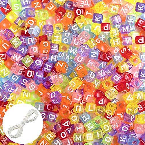 Quefe 500pcs Letter Beads Translucent Color Plastic Alphabet Beads for Jewelry Marking, Bracelets, Necklace,Key Chains and DIY (6mm)