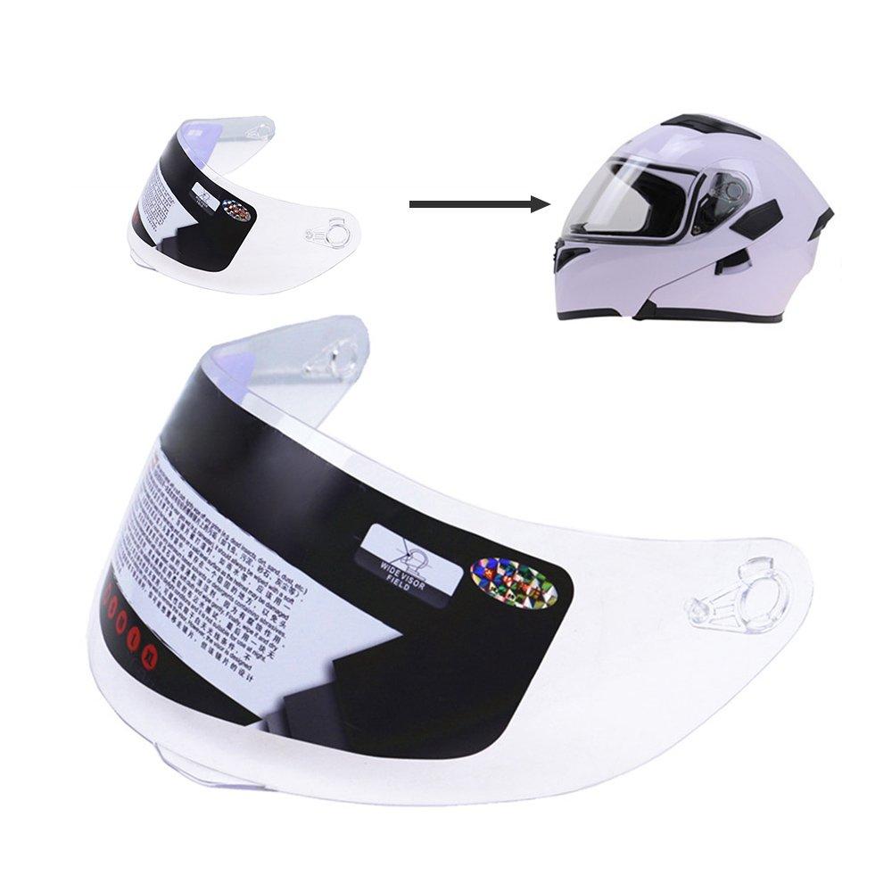 KKmoon Casque Visi/ère de Moto de l/'UV de Bouclier Anti-rayures Faciaux