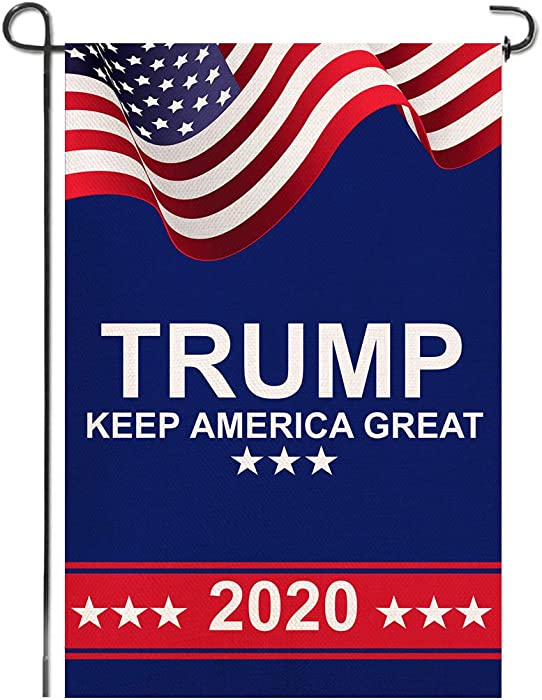 """Shmbada American President Donald Trump 2020 Make Keep US America Great Burlap Garden Flag, Double Sided Premium Fabric, US Election Patriotic Outdoor Decoration Banner for Yard Lawn, 12.5"""" x 18.5"""""""