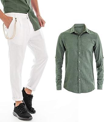 Giosal Outfit - Camisa para Hombre, Color Liso, Color Verde, Lino, Pantalones Blancos Verde M: Amazon.es: Ropa y accesorios