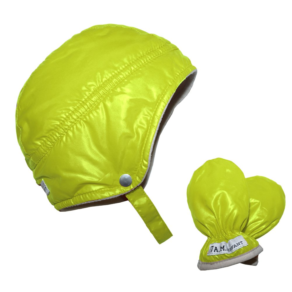 Neon Lime 7AM Enfant Infant Mittens and Hat Set Medium
