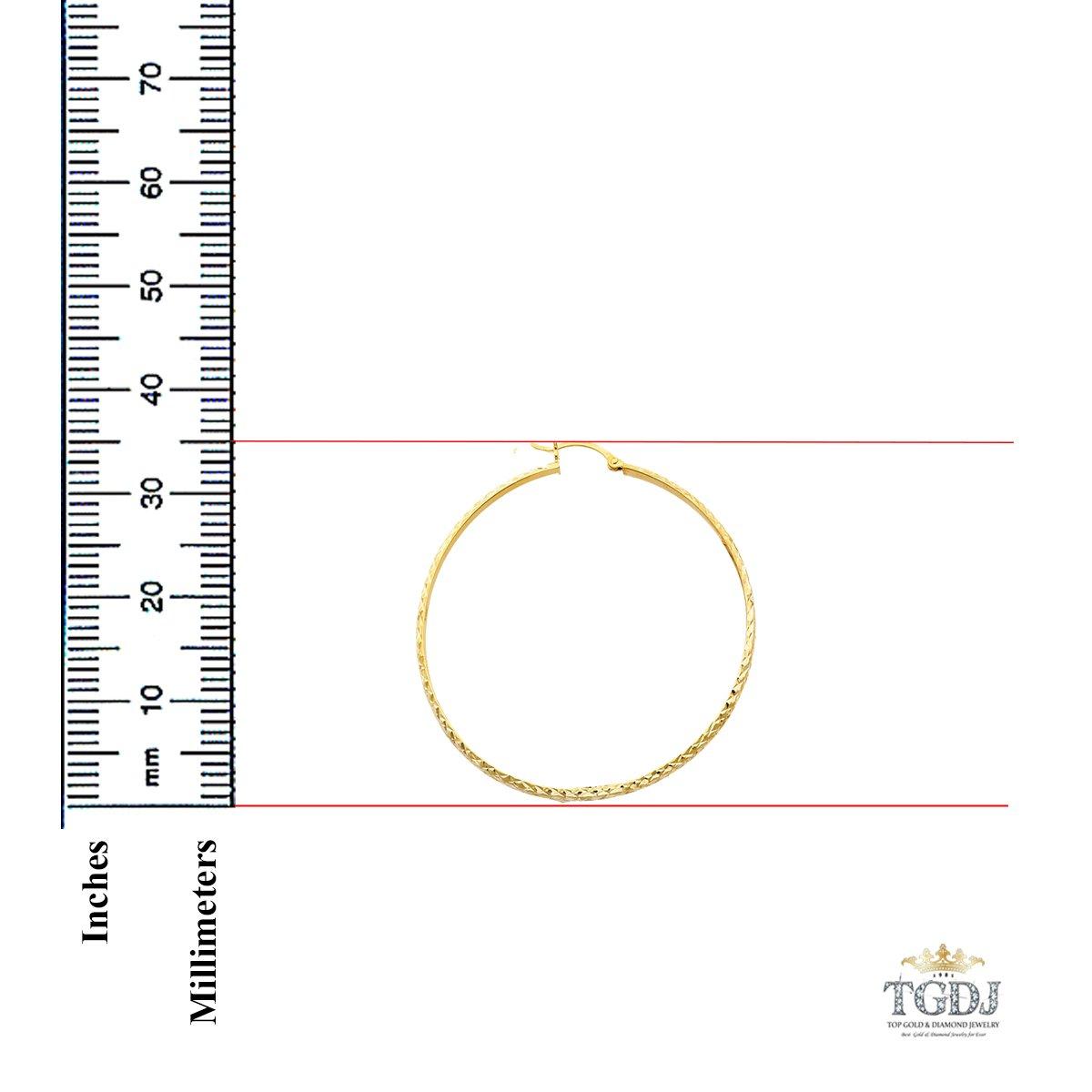 14K Yellow Gold 3mm Diamond Cut Hoop Earrings Diameter - 35mm