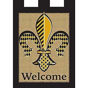 Diamond Black Gold Fleur de Lis Burlap 18 x 13 Rectangular Tab Top Small Garden Flag