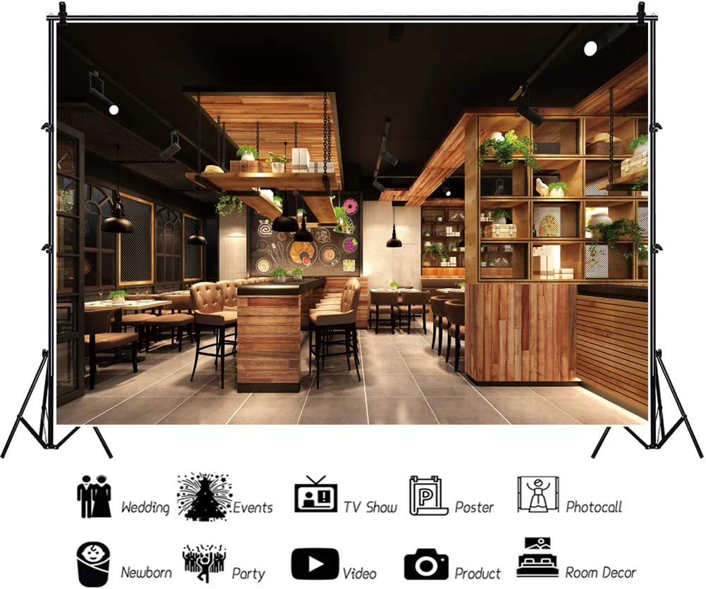 YEELE Luxury Restaurant Backdrop 12x8ft Wooden Chairs in Cafe Restaurant Indoor with Furniture Photography Background Room Decoration Kids Adults Portrait Photoshoot Props Digital Wallpaper