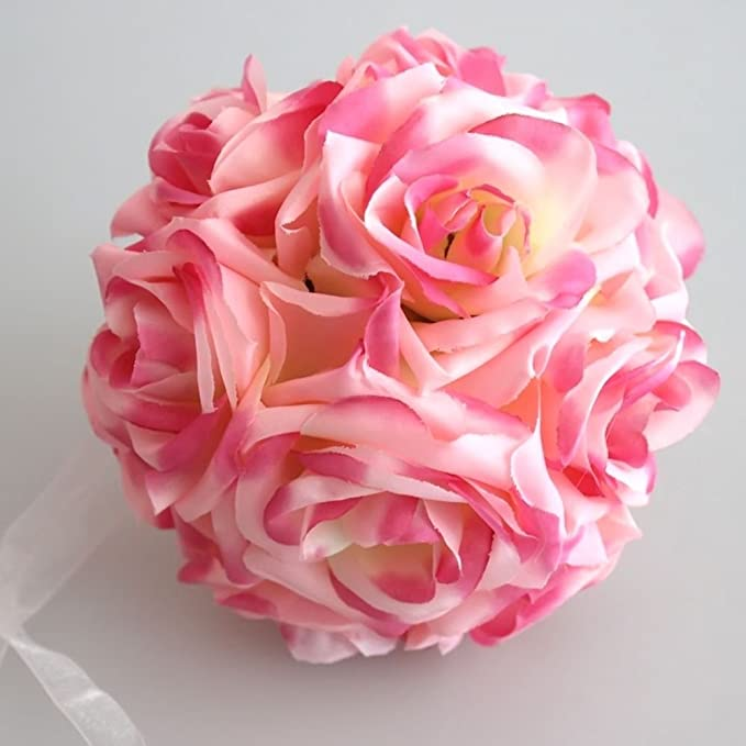 Generic rosa flor bola artificial ramo de Pomander Kiss bola boda ...