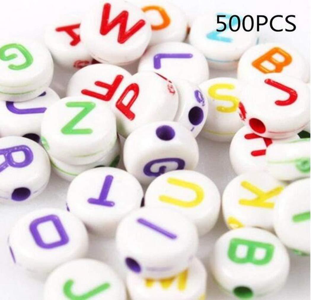 Nalmatoionme Cuentas de Letras Cuentas de acr/ílico Redondas Letras grabadas para la fabricaci/ón de Joyas 7x7 mm Multicolor 500PCS
