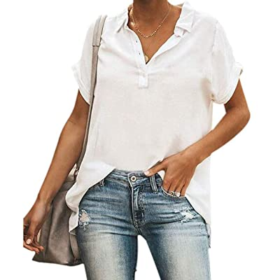 Winsummer Women's Rolled Up Short Sleeve Shirts Casual Tunic V Neck Button Henley T-Shirt Tops Summer T Shirt Blouse at Women's Clothing store