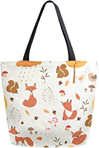 ZzWwR Cute Forest Fox Squirrel Floral Pattern Extra Large Canvas Beach Travel Reusable Grocery Shopping Tote Bag Foldable Handbag Portable Storage HandBags