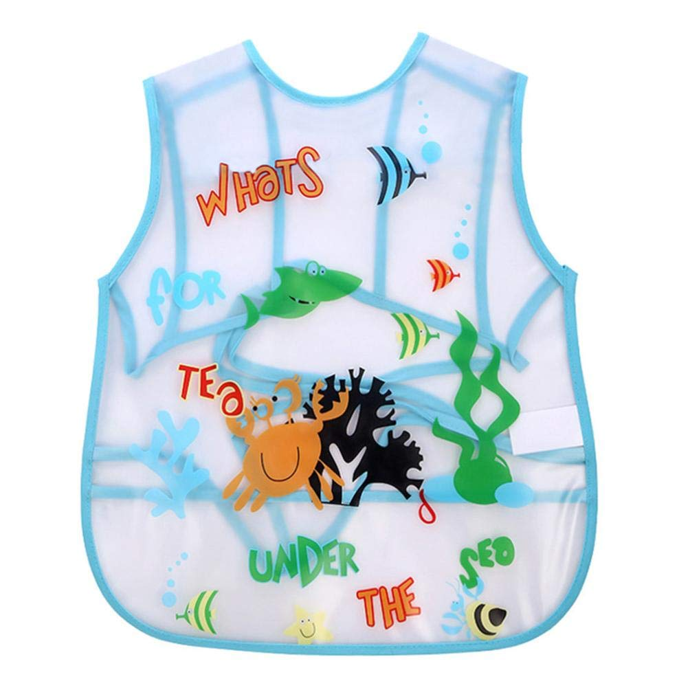Cute Kids Waterproof Bibs Easily Wipes Clean Comfortable Soft Adjustable Baby Feeding Saliva Dripping Bibs Quick Drying Food Grade Material Bibs Bacteria Resistant for Infants Toddlers (H) Y56(TM)