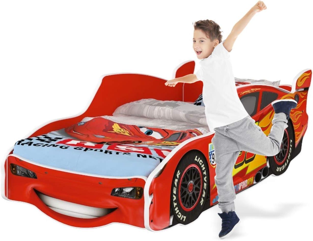 160 x 80 cm NO Mattress iGLOBAL Kinderbett Zig Zag Lightning McQueen Cars 3 Autobett Cars Bett Jugendbett Juniorbett Bett mit Lattenrost Stellage mit Matratze 160x80 cm