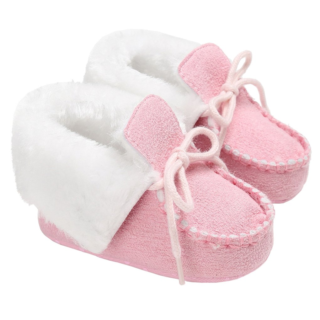 LINKEY Baby Girls Winter Warm Suede Lace-Up Furry Moccasins Plush Booties Crib Shoes