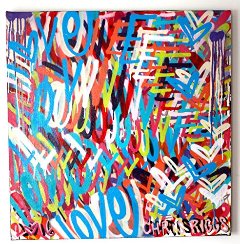CHRIS RIGGS Original Love painting 36 x 36 pop street art hearts spray paint NYC acrylic contemporary modern art urban fine art canvas