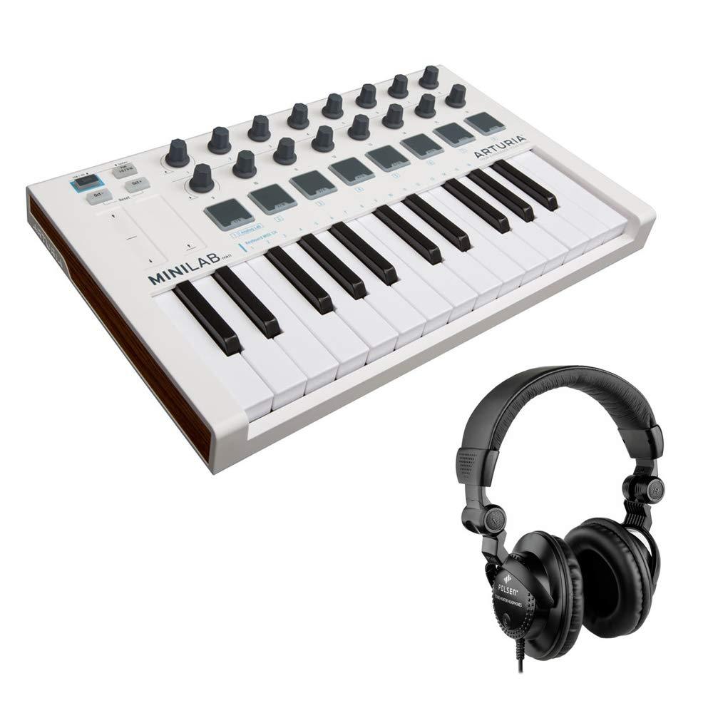 Arturia MiniLab Mk II Portable USB-MIDI Controller with HPC-A30 Closed-Back Studio Monitor Headphones Bundle by Arturia