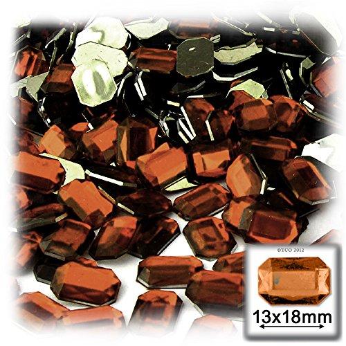 長方形の八角形クラフトアウトレット144アクリルアルミ箔フラットバックラインストーン、13by 18mm、ビールブラウンの商品画像