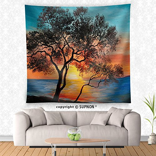 VROSELV custom tapestry Oil Painting on Canvas - Tree near the Lake at Sunset Wallpaper Decoration - Fabric Wall Tapestry Home Decor - Crest Tapestry