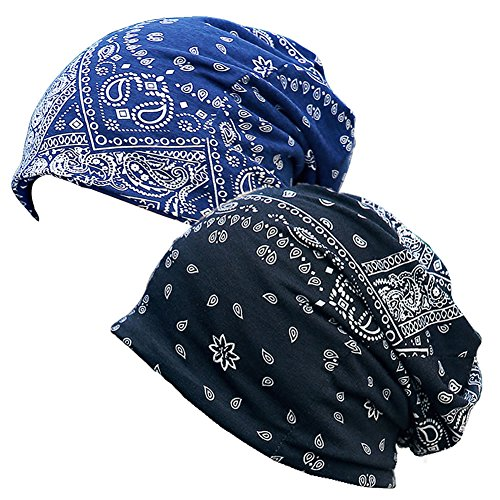 Paladoo Print Flower Slouchy Beanie Chemo Hat Cap Infinity Scarf for Women (2pack Black+Navy Blue) by Paladoo (Image #2)