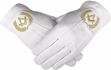 Masonic Cotton Glove with Golden Mylar Embroidery Square and Compass