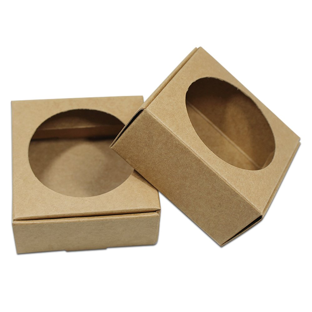 Visible Kraft Paper Gift Wrapping Boxes Merchandise Take Out Container Jewelry Necklaces Gift Favor Cardboard Box Candy Chocolate Food Storage Cake Craft Pack (250, 2.8x2.7x1.25 inch / Round Window) by PABCK