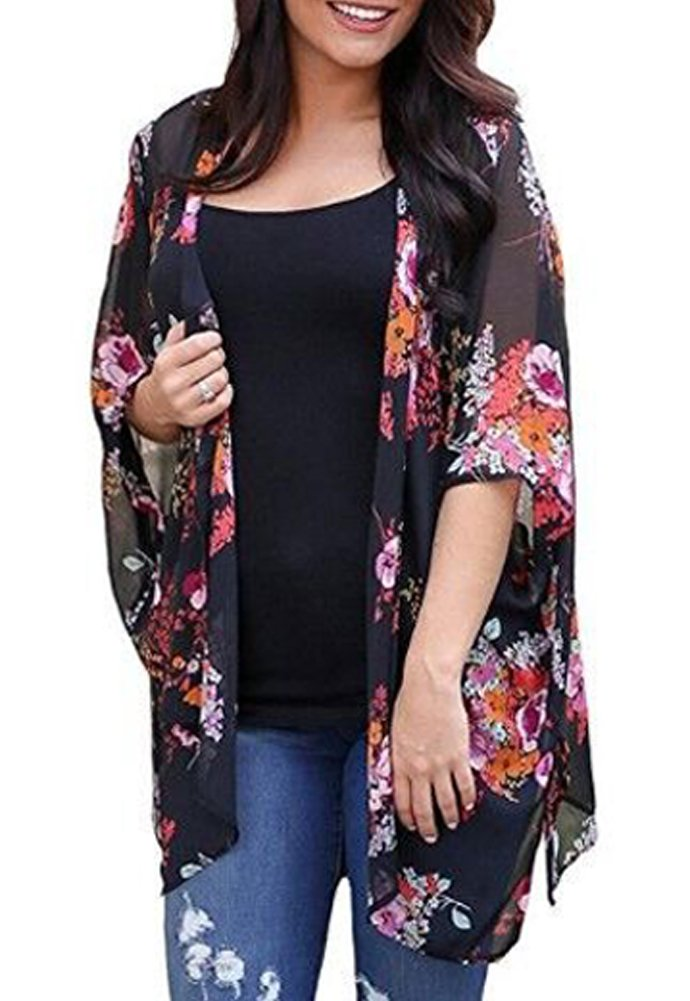 Black Summer Tops Cardigan for Women Casual Loose Flower Print Sexy Beach Bikini Cover up Size M