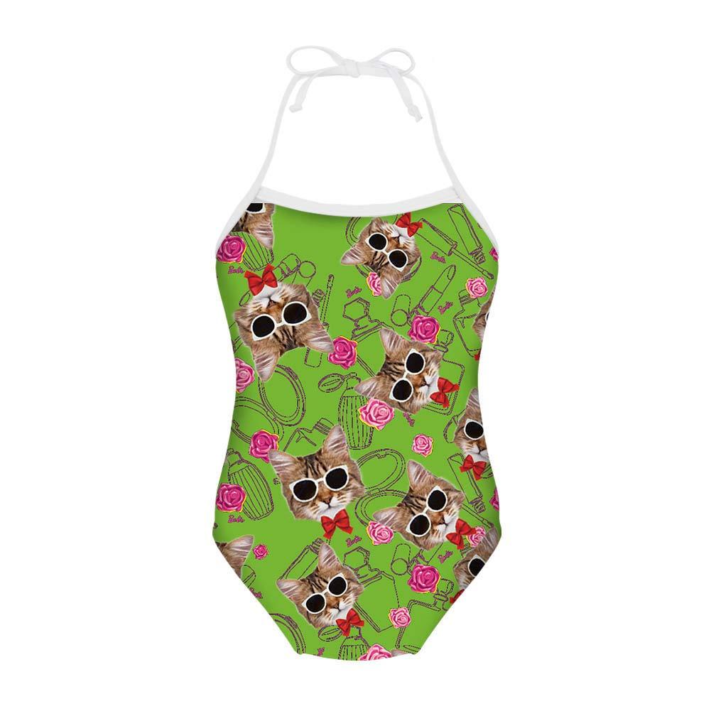 Showudesigns Pretty Cat Swimwear One Piece Kids Girls Bathing Suit for 3Y-8Y