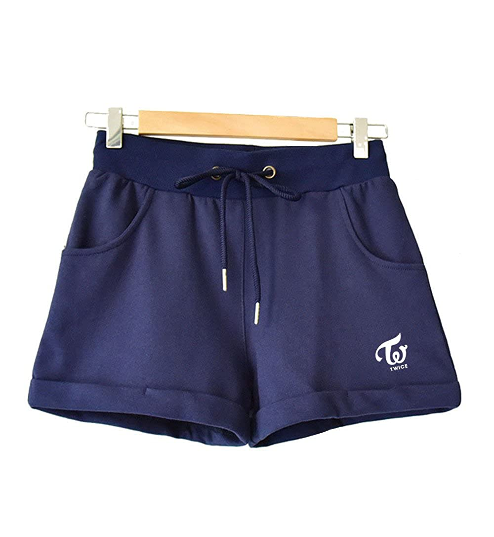 L, Dark Blue New Kpop Cotton Twice Shorts Plants for Twice Fans