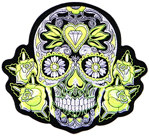 XXL Size Big Jumbo Large Green Diamond Rose Sugar Skull Ghost Day of Death Love Never Die Lady Rider Biker Tatoo Logo Back Motorcycles Jacket T-shirt Patch Sew Iron on Embroidered Sign Badge Costume