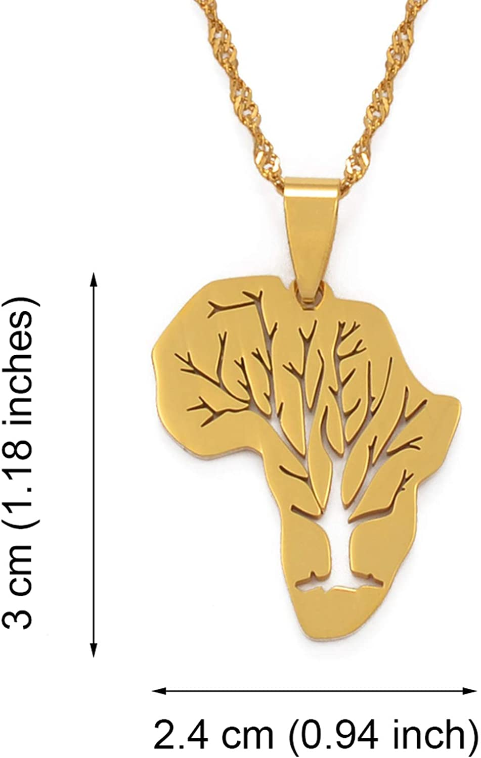 Zoe-clothes-store Map Pendant Necklaces for Women Men Africa Map Pendant Necklaces African Roots Tree Neckalces Jewelry Gold Color Stainless Steel