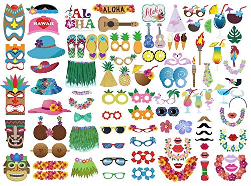 Etryo 96Pcs Large Luau Photo Booth Props - Decoration Supplies for Hawaiian Luau Beach Tropical Summer Birthday Children Parties. Luau Party Decorations for Funny Parties.