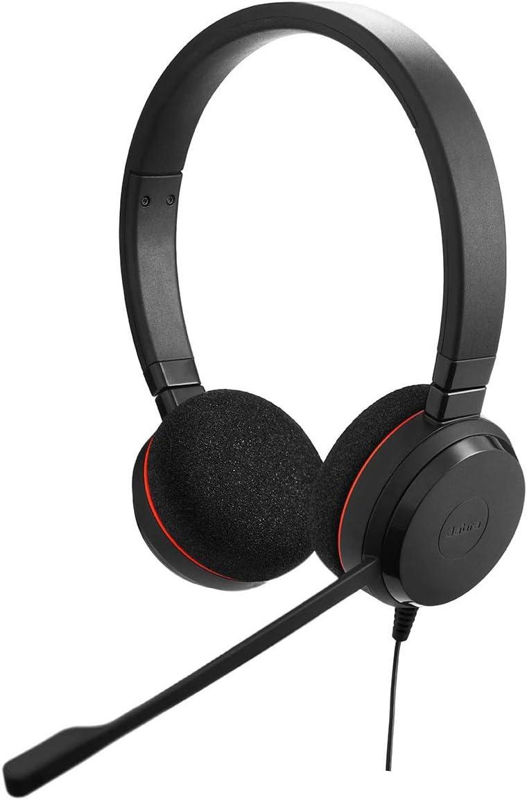 Jabra Evolve 20 SE - Auriculares externos estéreo con cancelación de Ruido, optimizados para Microsoft Lync