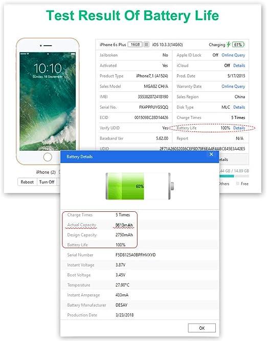 Batería para iPhone 6s Plus 3600mAh, EMNT Reemplazo de Alta ...