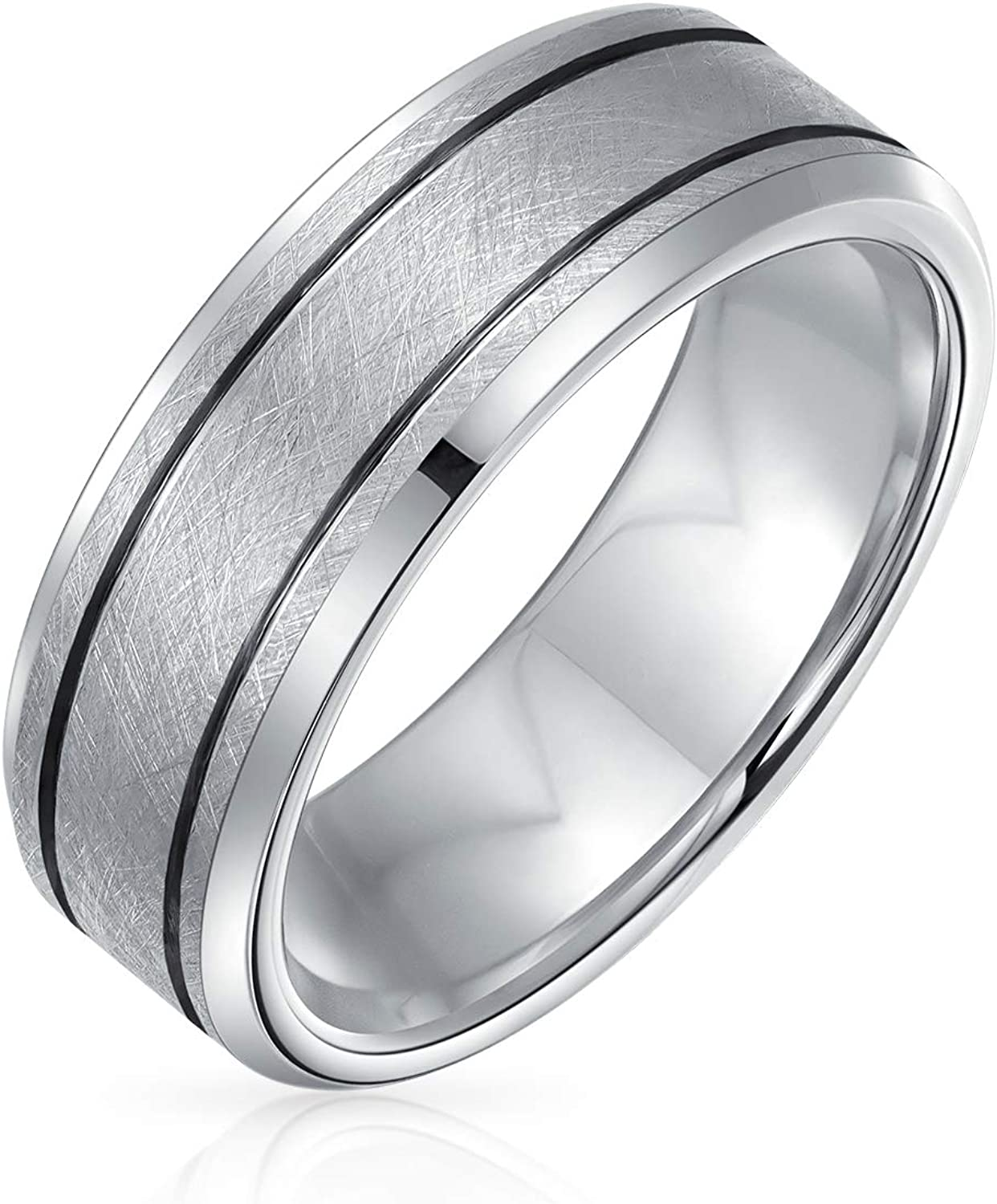 Bling Jewelry Wide Sliver Tone Double Grooved Brushed Matte Titanium Wedding Band Ring for Men Comfort Fit 7MM
