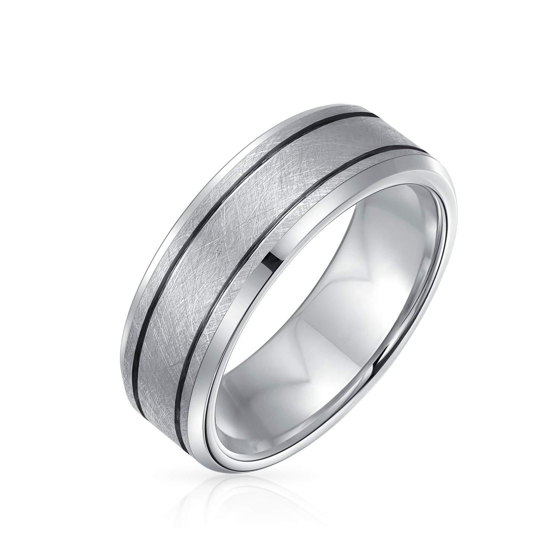 Bling Jewelry Slivo/ïde Large Double Tonalit/é Mat Bross/é Cannel/é Bande De Mariage Anneau De Tungst/ène pour Les Homme Comfort Fit 7MM