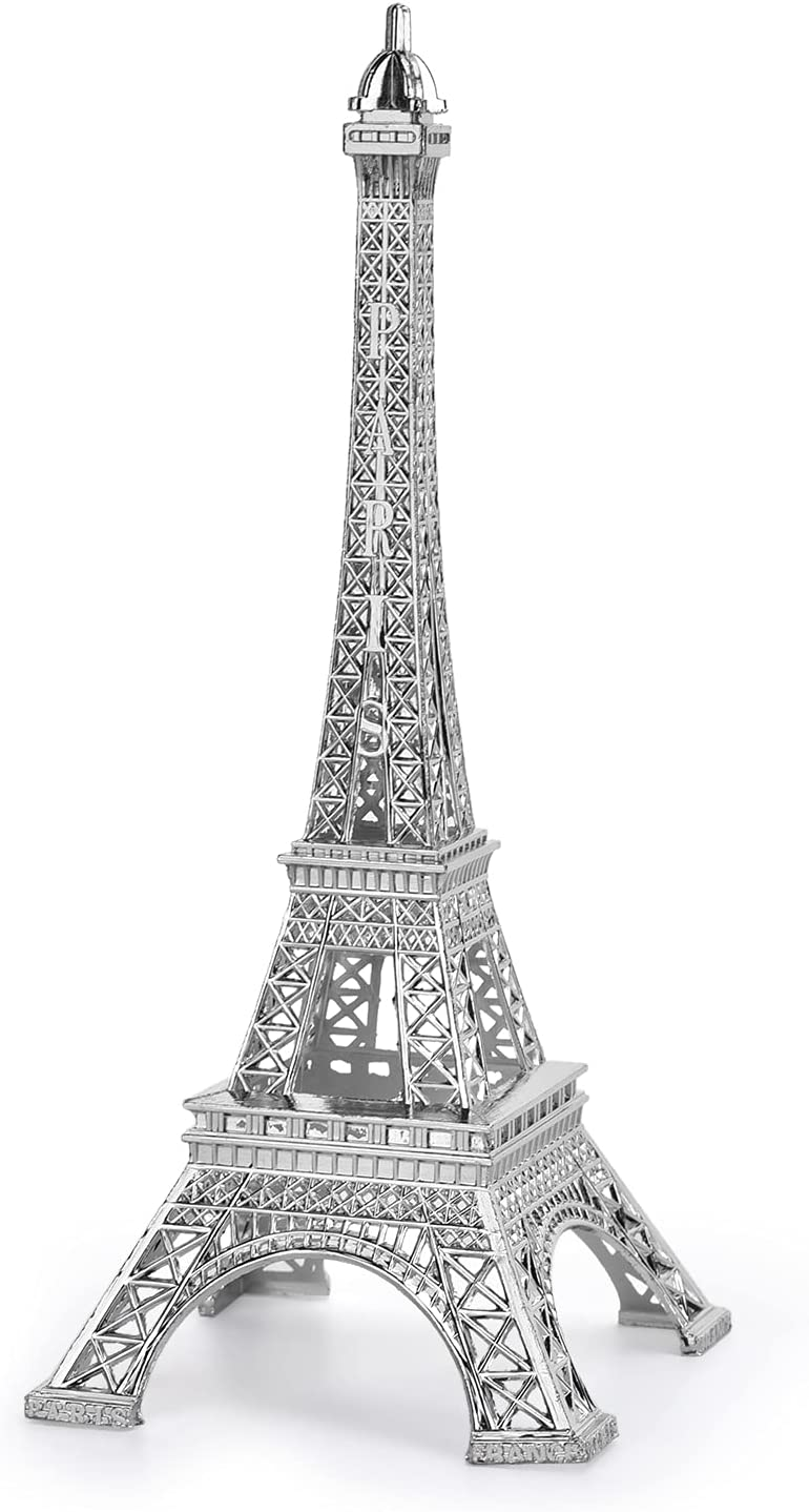 Eiffel Tower Statue, Decorative Metal Paris France Eiffel Tower Model Figurine Replica Stand Holder for Cake Topper Table Decor Gift Party Home Decoration (Silver, 10inch)