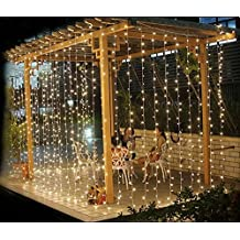 Lightess Christmas LED Curtain String Fairy Lights for Indoor or Outdoor 600 LEDs Warm White