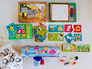 Box For Monkeys, premium kids activity pack, school holiday activities, home or travel bundle for children ages 2 to 3 years old, reveal pictures with water, easy puzzle, play dough and plastic animals.