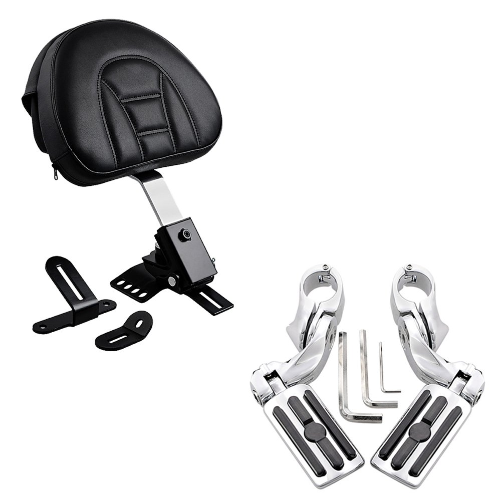 Adjustable Plug-In Driver Rider Backrest with Pocket + 1-1/4 Highway Foot Pegs 3-Slot Style For 1997-2017 Harley Touring FLH FLT Slotted Seat 1.25'' Engine Guard