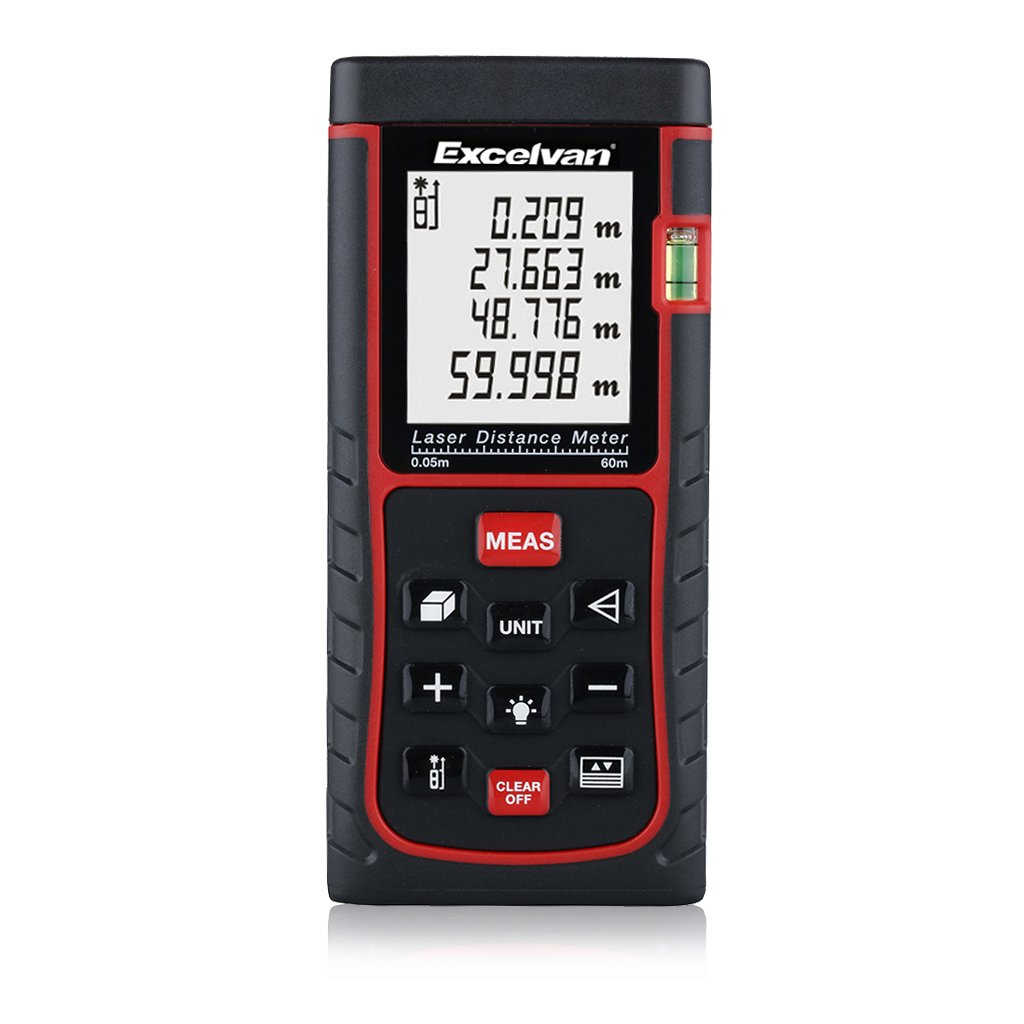 Excelvan Professional Digital Laser Distance Meter for Pythagorean, Bubble Level with High Accurate Measurement Device, Battery Included (100M)